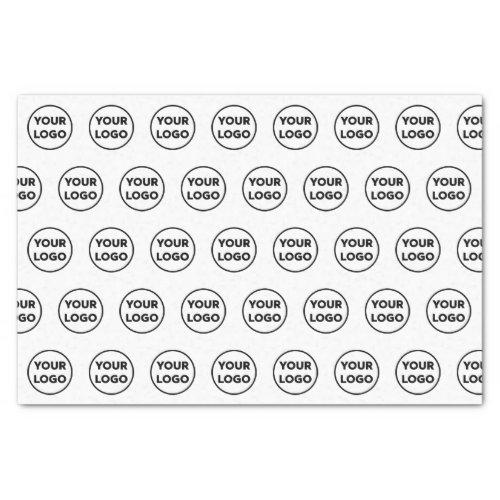 Custom Branded Business Logo Pattern on White Tissue Paper