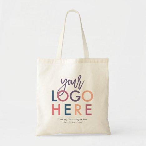 Custom Branded Modern Company Logo Tagline Website Tote Bag