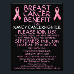 """Custom Breast Cancer Benefit Flyer<br><div class=""""desc"""">This beautiful cancer benefit flyer is perfect for advertising a cancer benefit and auction once you personalize with all your own benefit details in the provided boxes. See our store for coordinating cancer benefit posters and also specific types of cancer benefit flyers. The back of this breast cancer benefit flyer...</div>"""