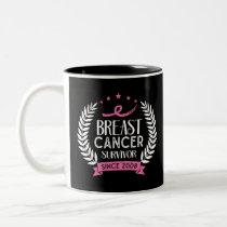 Custom Breast Cancer Survivor Awareness Since 2008 Two-Tone Coffee Mug