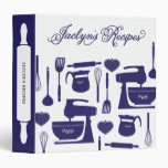 Custom Bridal Shower Bride's Recipes Navy Blue 3 Ring Binder