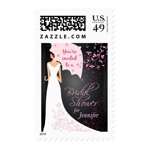Custom Bridal Shower Invitation - Black and White Stamps