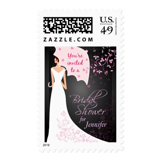Custom Bridal Shower Invitation - Black and White Postage