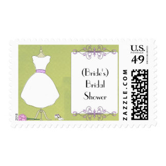 Custom Bridal Shower Invitation-Chic Dress Form Postage