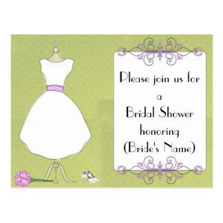 Custom Bridal Shower Invitation-Chic Dress Form Postcard