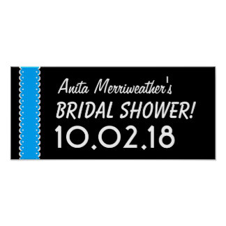 Custom BRIDAL SHOWER or Any Year BLUE and BLACK B8 Poster