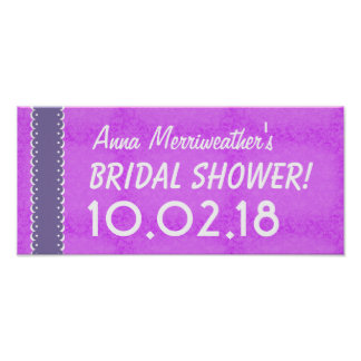Custom BRIDAL SHOWER or Any Year ORCHID PURPLE B06 Poster
