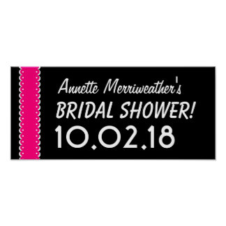 Custom BRIDAL SHOWER or Any Year PINK and BLACK B7 Poster