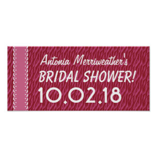 Custom BRIDAL SHOWER or Any Year PINK ZEBRA B03 Poster