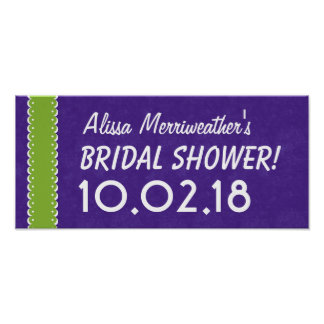 Custom BRIDAL SHOWER or Any Year PURPLE LIME B05 Poster