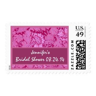 Custom Bridal Shower Pink Damask Stamp