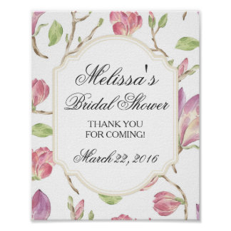 Custom Bridal Shower Sign, Watercolor Floral Poster