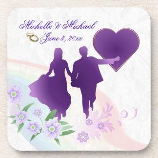 Custom Bride and Groom Keepsake Cork Coasters #2