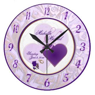 Custom Bride and Groom Lavender Purple Lace Clock