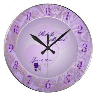 Custom Bride and Groom Lavender Purple Wall Clock
