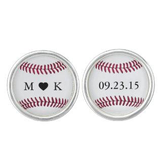 Custom Bride and Groom Monogram Baseball Cufflinks