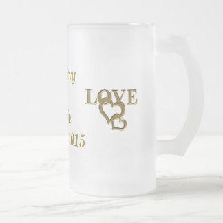 Custom Bride Groom Love Heart Frosted Glass Mug