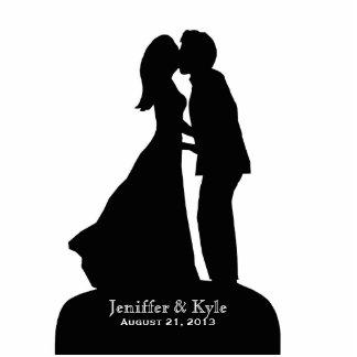 Custom Bride & Groom Silhouette Kissing Wedding Statuette