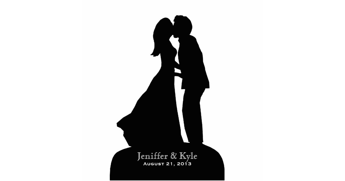 custom bride groom silhouette kissing wedding statuette zazzlecom