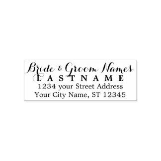 Custom Bride Groom Wedding Name and Return Address Self-inking Stamp
