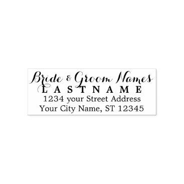 BusinessStationery Custom Bride Groom Wedding Name and Return Address Self-inking Stamp