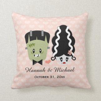 Custom Bride of Frankenstein and Monster Wedding Throw Pillow