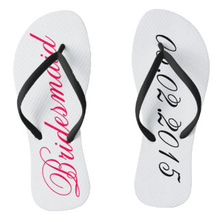 Custom Bridesmaid add your own wedding date gift Flip Flops