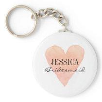 Custom bridesmaid coral watercolor heart keychains