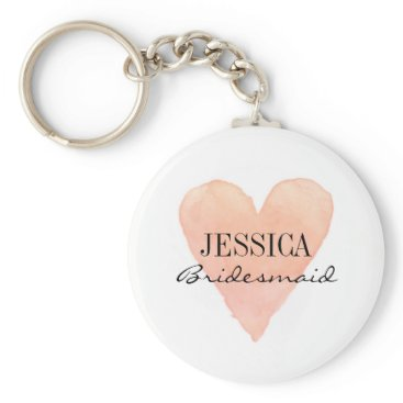 Valentines Themed Custom bridesmaid coral watercolor heart keychains