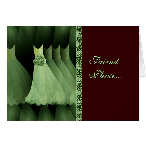Custom Bridesmaid Invitation MINT Gowns CHOCOLATE Greeting Card