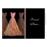 Custom Bridesmaid Invitation ORANGE & PEACH Gowns Greeting Cards