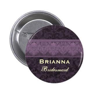 Custom  Bridesmaid Purple and Cream Damask Ribbon Pinback Button