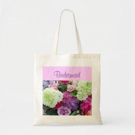 Custom Bridesmaid  Rose Hydrangea Wedding Flowers Tote Bags