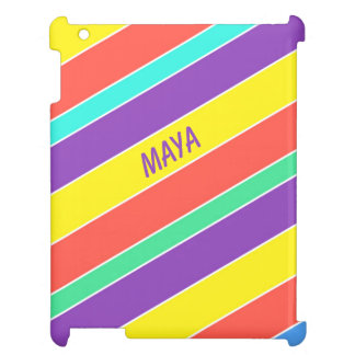 Custom Bright Circus Color Stripes iPad Cover