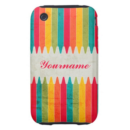 Custom Bright Crayons Tough iPhone 3 Covers