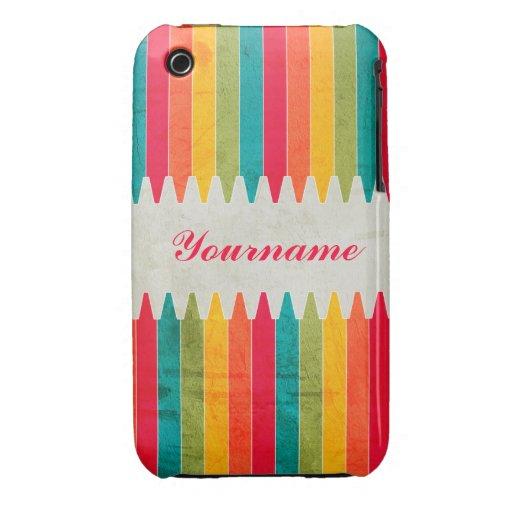 Custom Bright Crayons Case-Mate iPhone 3 Cases