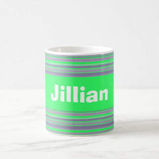Custom Bright Ice Green and Lavender Striped Mug