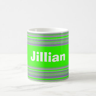 Custom Bright Lime Green and Lavender Striped Mug