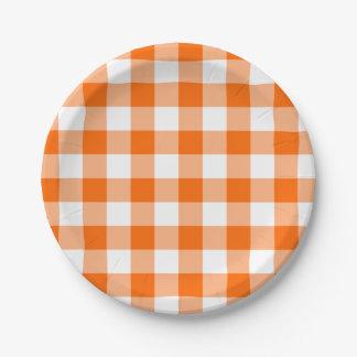 Custom Bright Orange Gingham Paper Plate