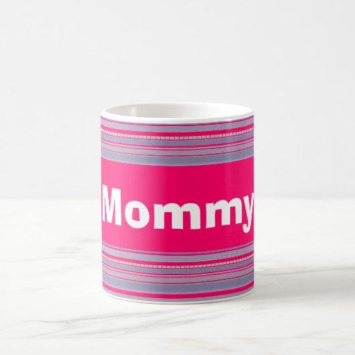 Custom Bright Pink and Purple Striped  Mug Cup