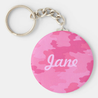 Custom Bright Pink Camouflage Key Chain