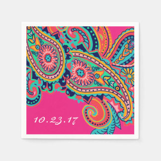 Custom Bright Rainbow Paisley Flourish Paper Napkin