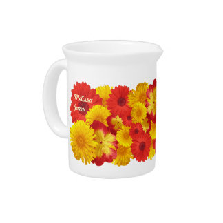 Custom Bright Red Daisies Yellow Chrysanthemums Drink Pitcher
