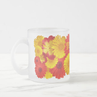 Custom Bright Red Daisies Yellow Chrysanthemums Frosted Glass Coffee Mug
