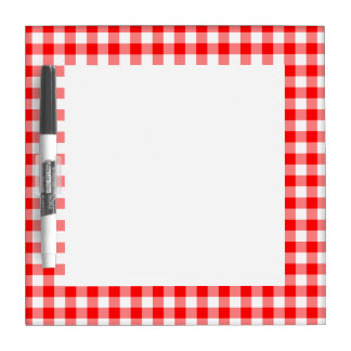 Custom Bright Red Gingham Dry-Erase Board