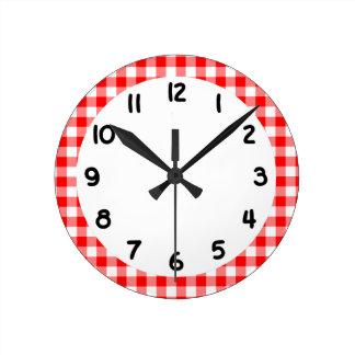 Custom Bright Red Gingham Round Clock