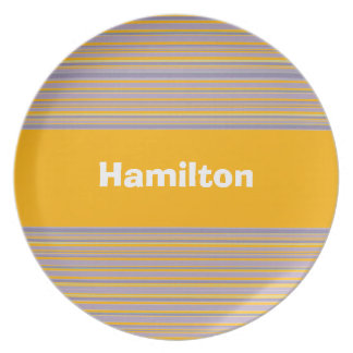Custom Bright Tropical Yellow and Purple Striped P Dinner Plate
