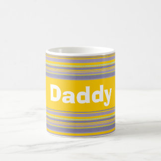 Custom Bright Yellow and Lavender Striped Mug Cup