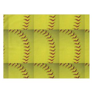 Custom Bright Yellow Softball Tablecloth