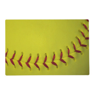Custom Bright Yellow Softball Placemat